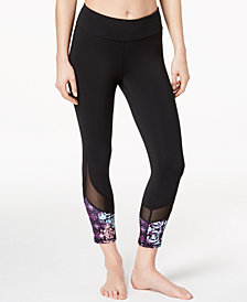 Gaiam Om Lena Printed Mesh-Trimmed Capri Leggings