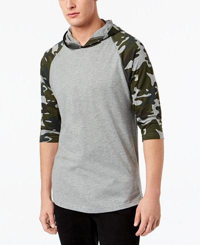 American Rag Men's Camo Raglan Hooded T-Shirt, Created for Macy's