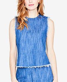 RACHEL Rachel Roy Cotton Frayed-Edge Denim Top, Created for Macy's
