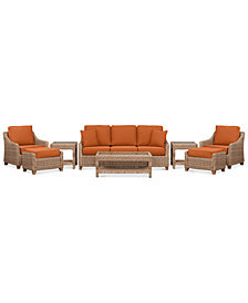 Willough Wicker Outdoor  8-Pc. Set (1 Sofa, 2 Club Chairs, 1 Coffee Table, 2 Ottomans & 2 End Tables) with Custom Sunbrella® Colors, Created For Macy's