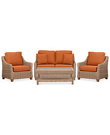 Willough Wicker Outdoor 4-Pc. Set (1 Loveseat, 2 Club Chairs & 1 Coffee Table) with Custom Sunbrella® Colors, Created For Macy's