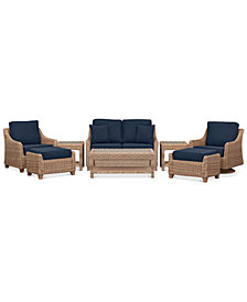 Willough Wicker Outdoor 8-Pc. Set (1 Loveseat, 1 Swivel Glider, 1 Club Chair, 1 Coffee Table, 2 Ottomans & 2 End Tables) with Custom Sunbrella® Colors, Created For Macy's