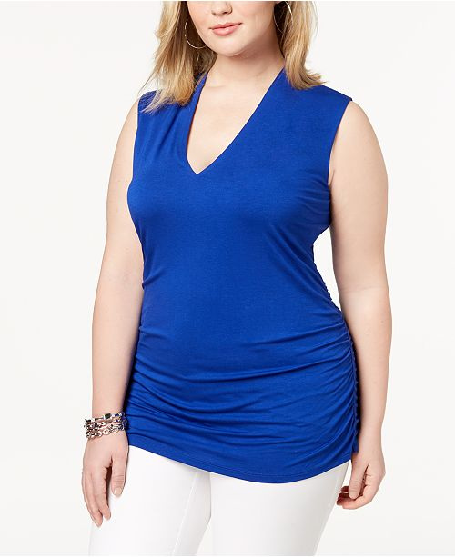 Macy's Ruched Size V I Created Tank International C Blue Plus for Neck INC Concepts N Bright TBpUwq