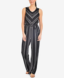NY Collection Striped Belted-Waist Jumpsuit