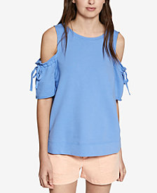 Sanctuary Crosby Cold-Shoulder Tie-Sleeve Sweatshirt