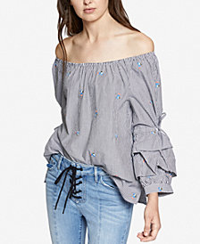 Sanctuary Saffron Cotton Striped Tiered-Sleeve Top