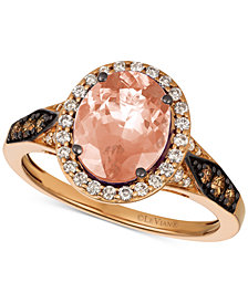Le Vian Chocolatier® Peach Morganite™ (1-3/4 ct. t.w.) & Diamond (3/8 ct. t.w.) Ring in 14k Rose Gold