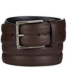 Calvin Klein Men's Pebble Leather Domed Belt