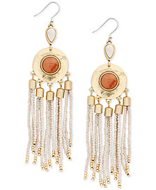 Lucky Brand Gold-Tone Stone & Beaded Fringe Drop Earrings, Created for Macy's