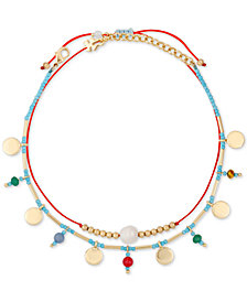 Lucky Brand Gold-Tone 2-Pc. Set Disc & Bead Anklets, Created for Macy''s