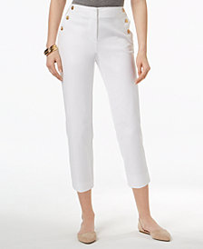 Charter Club Sailor-Button Capri Pants, Created for Macy's