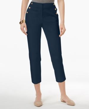 60s – 70s Pants, Jeans, Hippie, Bell Bottoms, Jumpsuits Charter Club Sailor-Button Capri Pants Created for Macys $29.75 AT vintagedancer.com