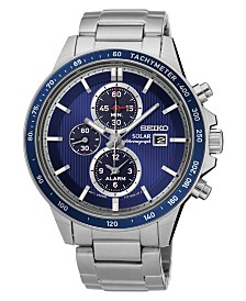 Seiko Men's Solar Chronograph Stainless Steel Bracelet Watch 42.8mm