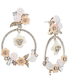 Marchesa Gold-Tone Bead & Flower Drop Hoop Earrings