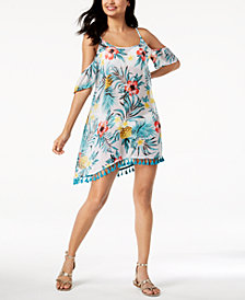 Miken Juniors' Tropical Printed Cold-Shoulder Cover-Up