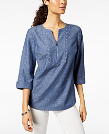 JM Collection Split-Neck Chambray Top, Created for Macy's