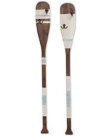 Wooden Paddle Coat-Hook Wall Hanging, Set of 2