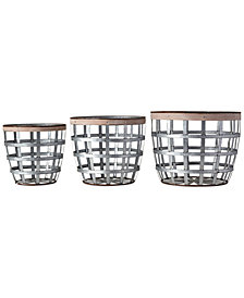 Metal Baskets with Wood Strip, Set of 3