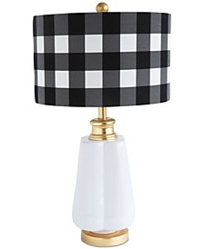 Ceramic Table Lamp with Linen Checked Shade
