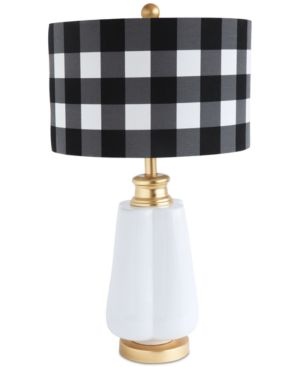 Image of Ceramic Table Lamp with Linen Checked Shade