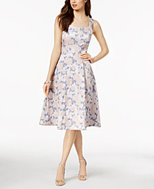 Nanette by Nanette Lepore Metallic Floral Jacquard Fit & Flare Dress