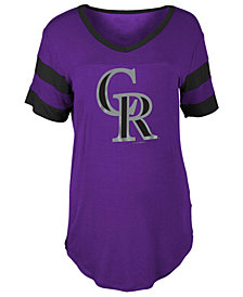 5th & Ocean Women's Colorado Rockies Sleeve Stripe Relax T-Shirt