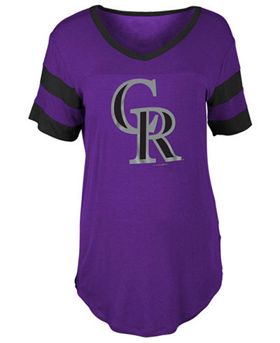 5th & Ocean Women's Colorado Rockies Sleeve Stripe Relax T-Shirt