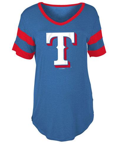 5th & Ocean Women's Texas Rangers Sleeve Stripe Relax T-Shirt