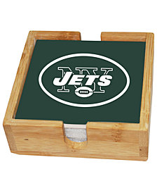 Memory Company New York Jets 4-Pack Square Coaster With Caddy Set
