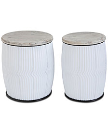 Wood & Metal Side Tables, Set of 2