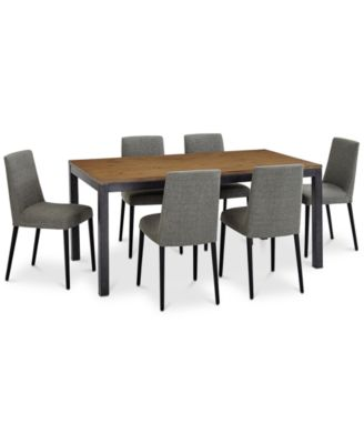 Gatlin Dining Furniture, 7-Pc. Set (Dining Table & 6 Charcoal Dining Chairs), Created for Macy's