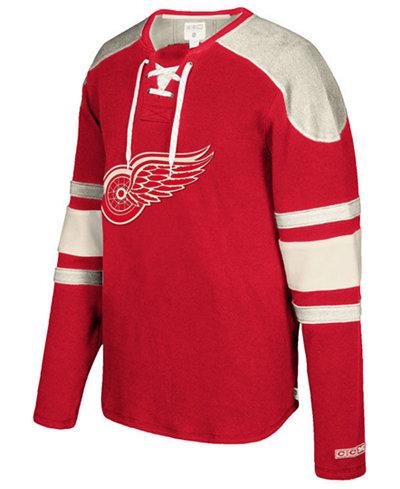 CCM Men's Detroit Red Wings Laces Crew Shirt