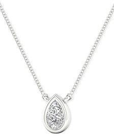 """Diamond Teardrop 18"""" Pendant Necklace (1/10 ct. t.w.)"""