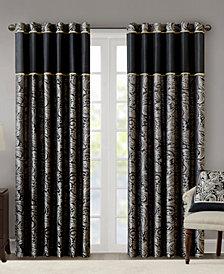 "Madison Park Aubrey 50"" x 84"" Paisley Jacquard Faux-Silk Rod Pocket/Back Tab Curtain Panel Pair"