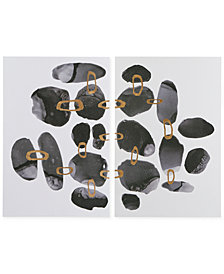 INK+IVY Liquid Stones 2-Pc. Gel-Coated Canvas Print Set with Gold-Tone Foil