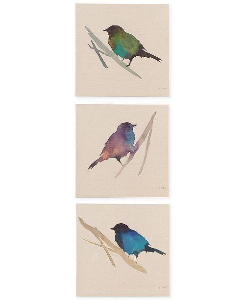 JLA Home Madison Park Branch & Flight 3-Pc. Linen Canvas Print Set