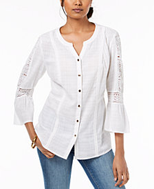 JM Collection Cotton Crochet-Trim Shirt, Created for Macy's