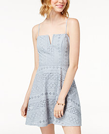 Trixxi Juniors' Eyelet Fit and Flare Dress