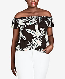 City Chic Trendy Plus Size Oahu Orchid Printed Off-The-Shoulder Top
