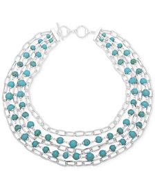 "Lauren Ralph Lauren Silver-Tone Imitation Pearl Multi-Strand Collar Necklace, 18"" + 3"" extender"