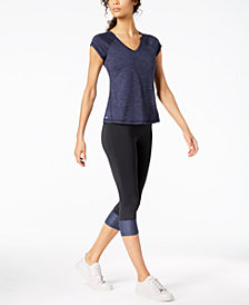 Ideology Heathered T-Shirt & Colorblocked Capri Leggings, Created for Macy's