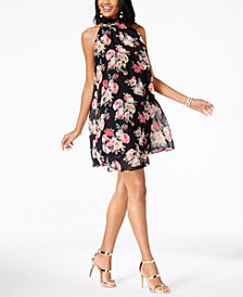 I.N.C. Petite Printed High-Neck Dress, Created for Macy's