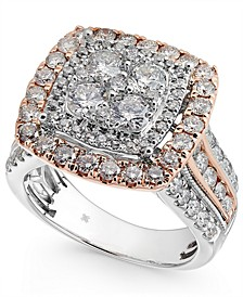 Diamond Two-Tone SquarelCluster Ring (2-1/2 ct. t.w.) in 14k White & Rose Gold