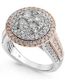 Diamond Two-Tone Halo Cluster Ring (1-3/4 ct. t.w.) in 14k White & Rose Gold