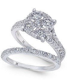 Diamond Cluster & Pavé Bridal Set (2 ct. t.w.) in 14k White Gold