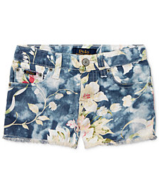 Polo Ralph Lauren Floral-Print Cotton Denim Shorts, Toddler Girls