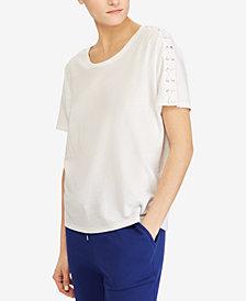 Lauren Ralph Lauren Lace-Shoulder T-Shirt