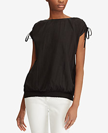 Lauren Ralph Lauren Smocked Jersey Top