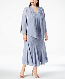 R&M Richards Plus Size Beaded V-Neck Dress and Jacket