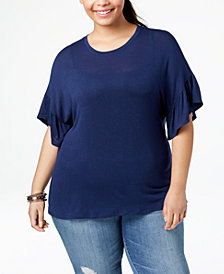 Eyeshadow Trendy Plus Size Ruffle-Sleeve Top